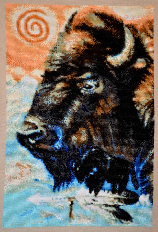 """""""Buffalo"""" JW Baker, broderie (43cmX31cm) au point de croix, de Sandrine Grillet -2014"""
