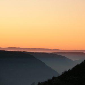 Coucher au-dessus des Gorges de la Jonte