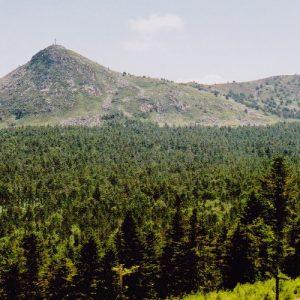 Mont Mézenc - Vue des deux sommets du mont Mézenc : à gauche le sommet nord (1 744 m) et à droite le sommet sud (1 753 m)