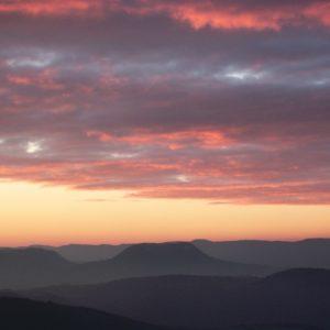 crépuscule, au-dessus de la vallée du Tarn