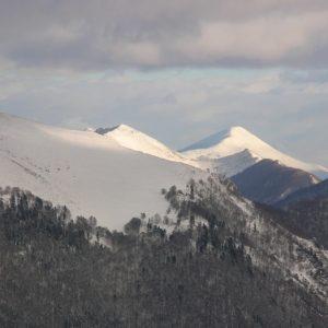 Pic de Calabasse (alt. 2210m.) et Pic de Pièle de Mil (alt. 2128m.), vu de Soulan, Le Mourtis